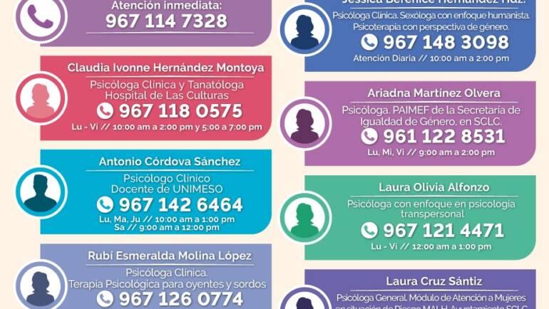 Ofrece Dirección de Equidad de Género del Ayuntamiento de San Cristóbal de Las Casas red de atención psicológica frente al confinamiento por la pandemia de COVID-19