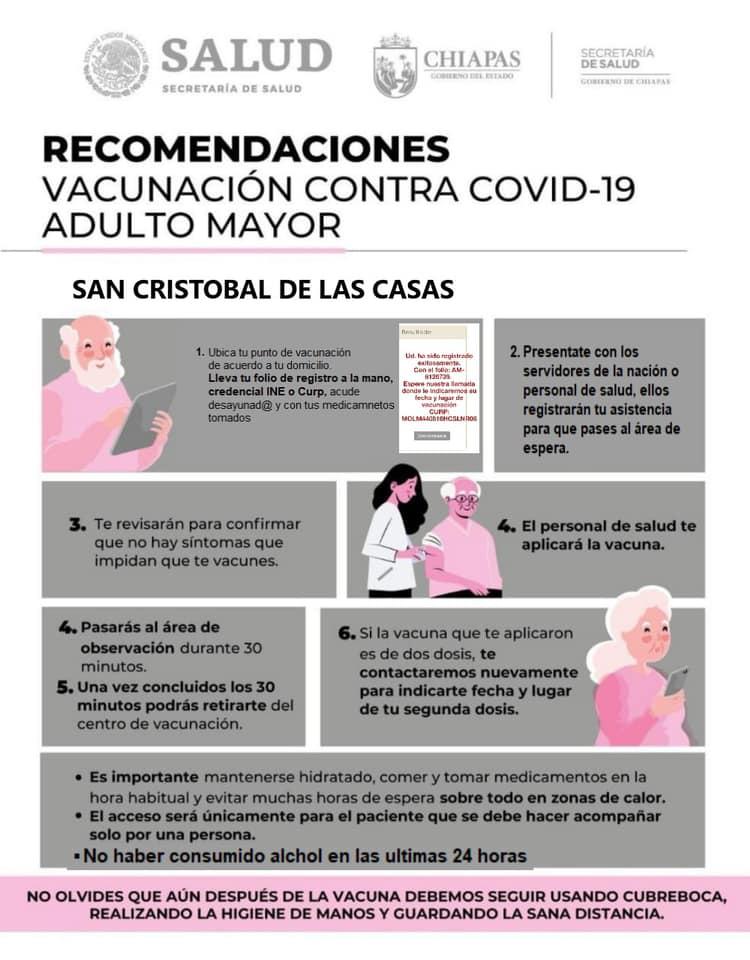 Campaña de Vacunación COVID-19 para adultos Mayores de 60 años en San Cristóbal de Las Casas